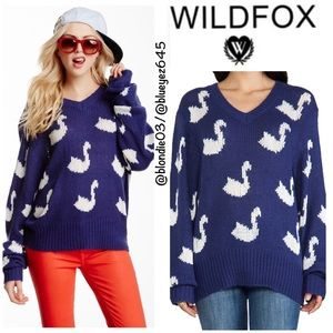Wildfox Allover Swan V-Neck Loose Knit sweater L